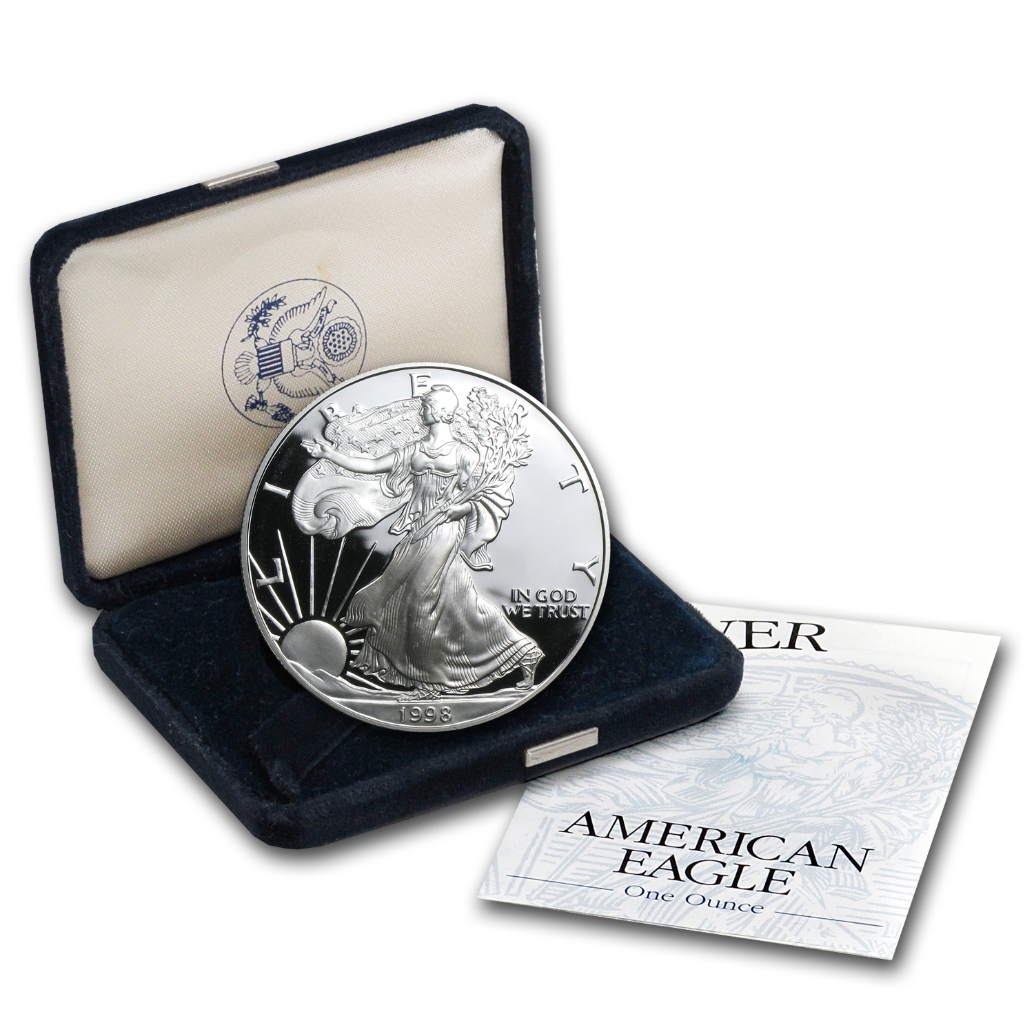 1998-P 1 oz Proof Silver American Eagle (w/Box & COA)